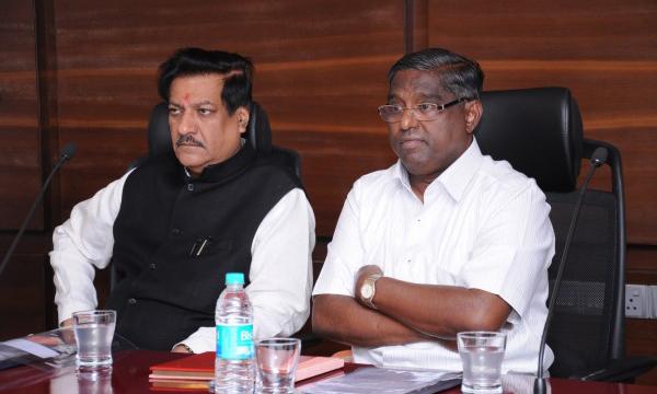 Honble CM Prithviraj Chavan with Chairman of bank Mr. Jayant Patil