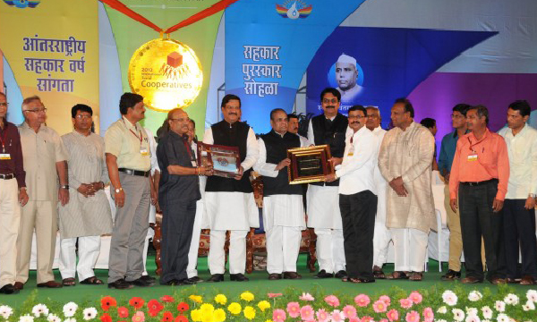 Sahakar Nishtha Award -  Vice-Chairman Mr Khaire And C.E.O. Mr P. Naik Accepting Sahakar Nishtha Award 2012 From Honble CM of Maharashtra Mr Prithviraj Chavan And Honble Governor Mr K. Shankaranarayanan.